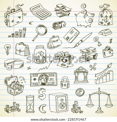 Freehand drawing Business and Finance items on a sheet of exercise book. Vector illustration. Set - stock vector