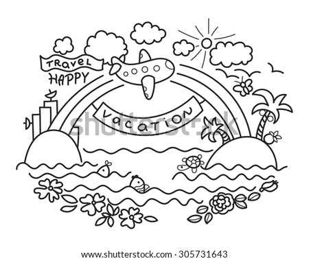 Freehand drawing - cartoon flight of airplane from urban island to tropical island, rainbow with banner Vacation and plane with flag Happy Travel. - stock vector