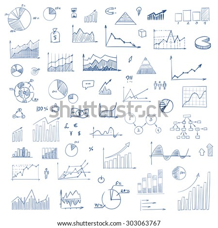 Freehand drawing charts items on a sheet of exercise book. Vector illustration. Set - stock vector