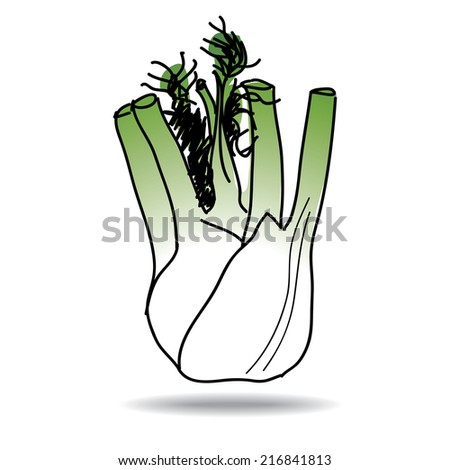 Freehand drawing fennel icon - vector eps 10 illustration - stock vector