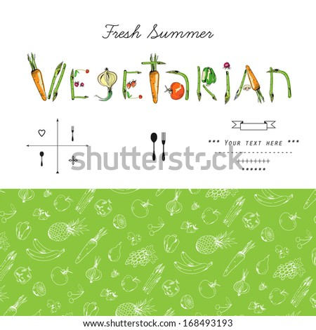 Freehand drawing fruits and vegetables . Vector illustration. - stock vector