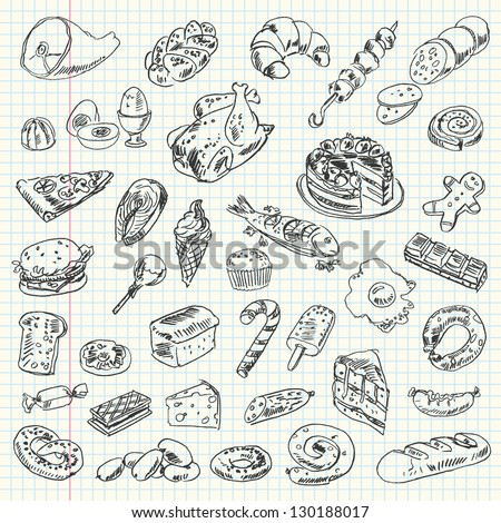 Freehand drawing high-calorie food on a sheet of exercise book. Vector illustration. Set - stock vector