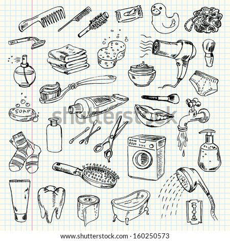 Freehand drawing hygiene and cleaning products on a sheet of exercise book. Vector illustration. Set - stock vector