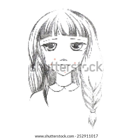 Freehand drawing medical icon Acne.Teenage girl with a pimple on her cheek. Acne vulgaris. Acne of a 14-year-old during puberty. Rubella. Rash on face and body. Eps 8 - stock vector