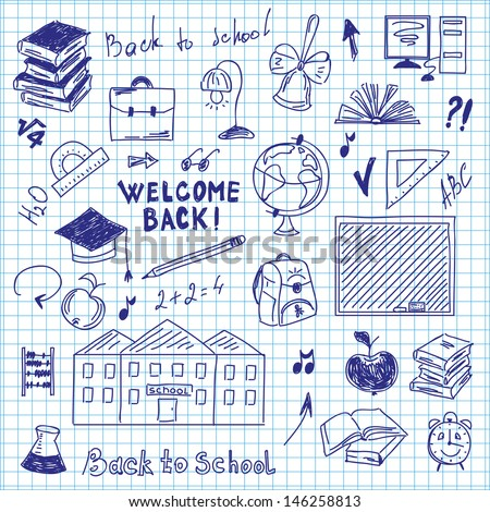 freehand drawing of school supplies in notebook - stock vector