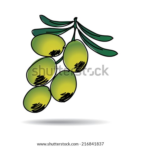 Freehand drawing olive icon - vector eps 10 illustration - stock vector