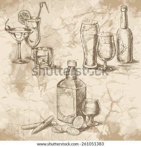 Freehand drawing on the old paper. Stemware glasses with cocktails and beer, a bottle of whiskey, lemons and cigars. Vintage style of food design. - stock vector