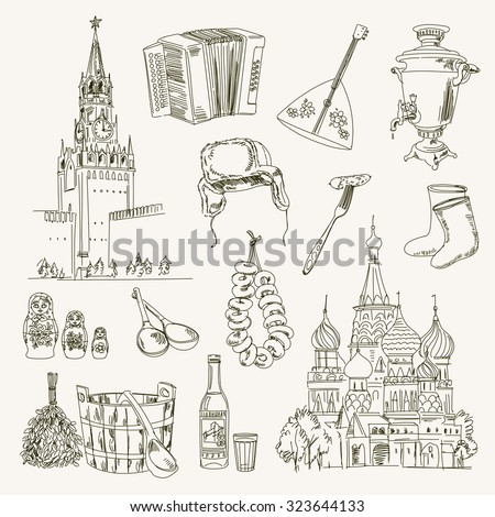 Freehand drawing Russia items on a sheet of exercise book. Moscow Kremlin. Saint Basil's Cathedral. Vector illustration. Isolated on white background - stock vector