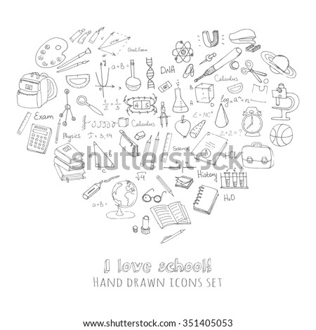 Freehand drawing school items, Back to School, I love school Hand drawing set of school supplies sketchy doodles vector illustration, doodles, science, physics, calculus, oral exam, history, biology - stock vector