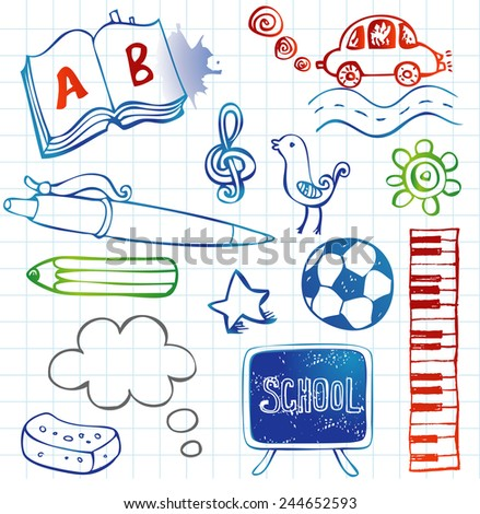 Freehand drawing school items on a sheet of exercise book. Back to School. - stock vector