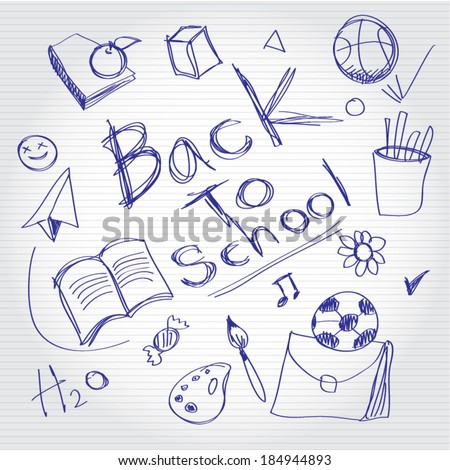 Freehand drawing school items on a sheet of exercise book. Back to School. Vector illustration. - stock vector