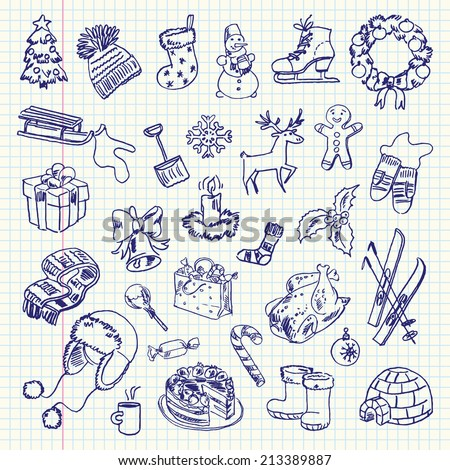 Freehand drawing Winter holiday items on a sheet of exercise book. Vector illustration. Set - stock vector