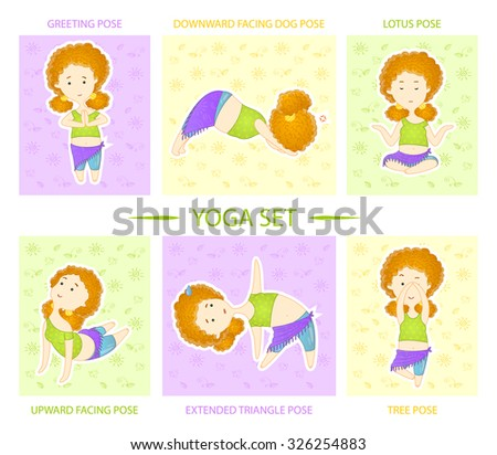 Freehand drawing yoga set. Cute curly red haired yogi girl performs six asanas (positions) of yoga. - stock vector