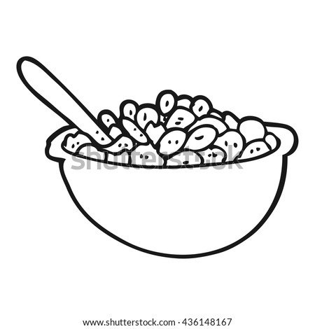 freehand drawn black and white cartoon bowl of cereal - stock vector