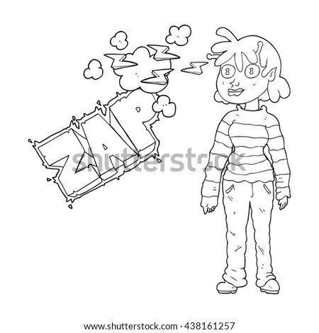 freehand drawn black and white cartoon casual alien girl using telepathy - stock vector