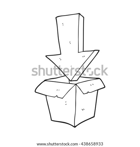 freehand drawn black and white cartoon empty box with arrow - stock vector