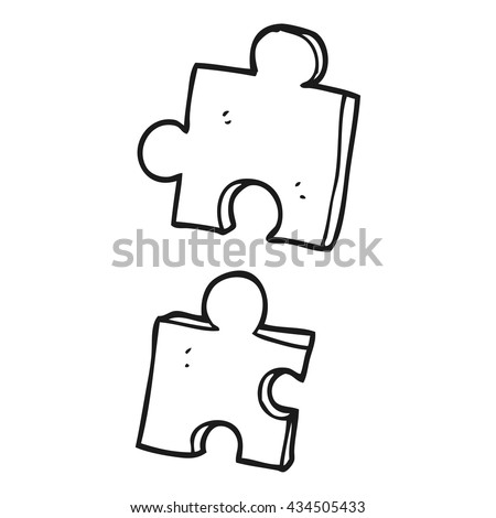 freehand drawn black and white cartoon jig saw pieces - stock vector