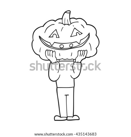 freehand drawn black and white cartoon pumpkin head halloween costume - stock vector