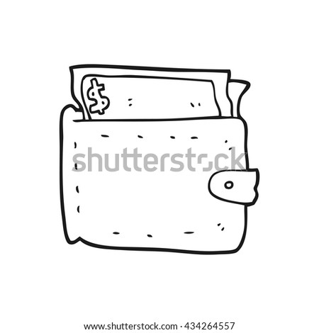 freehand drawn black and white cartoon wallet full of money - stock vector