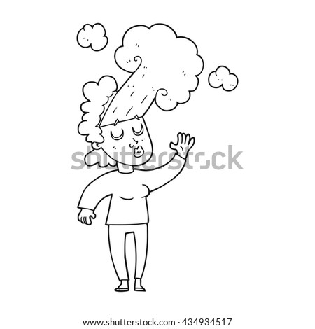 freehand drawn black and white cartoon woman letting off steam - stock vector