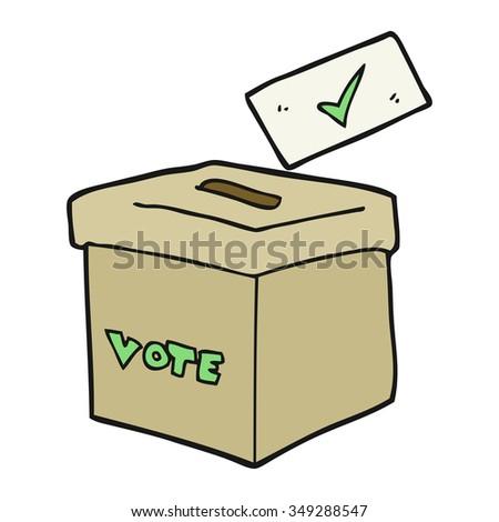 freehand drawn cartoon ballot box - stock vector