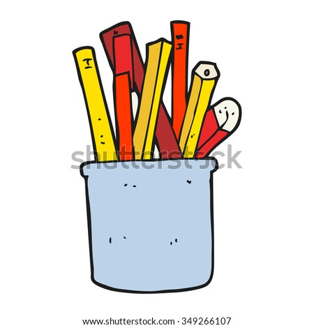 freehand drawn cartoon desk pot of pencils and pens - stock vector