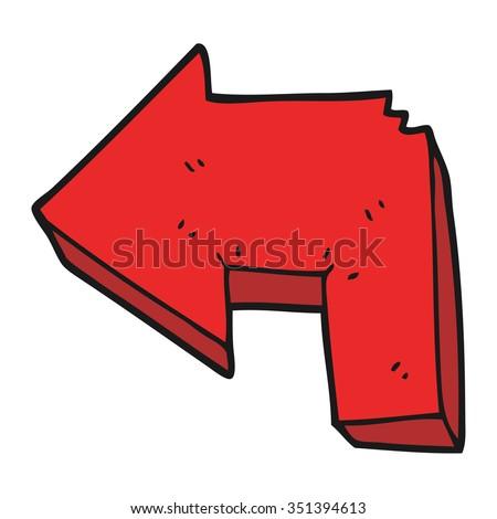 freehand drawn cartoon direction arrow - stock vector