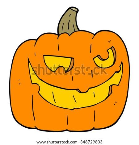 freehand drawn cartoon halloween pumpkin - stock vector