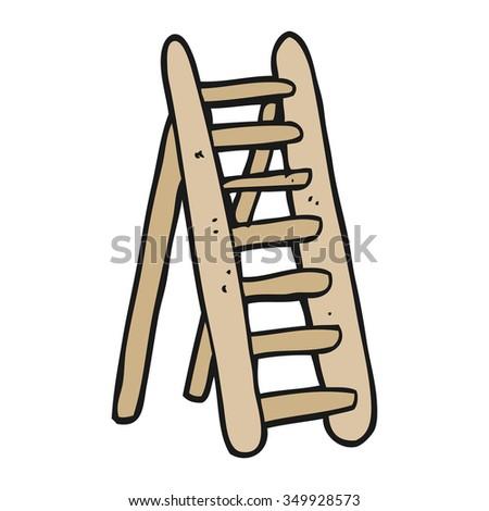 freehand drawn cartoon ladder - stock vector