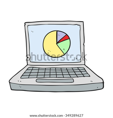 freehand drawn cartoon laptop computer with pie chart - stock vector