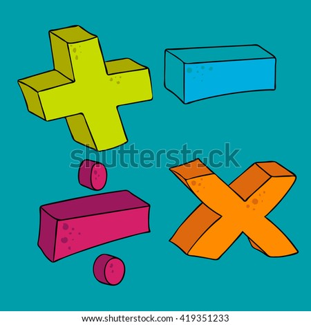 freehand drawn cartoon math symbols - stock vector