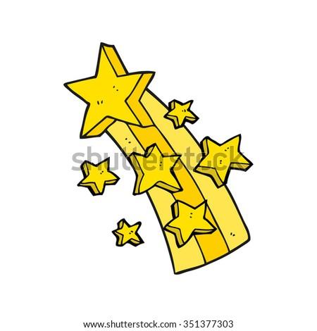 freehand drawn cartoon shooting star - stock vector