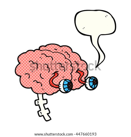 freehand drawn comic book speech bubble cartoon brain - stock vector