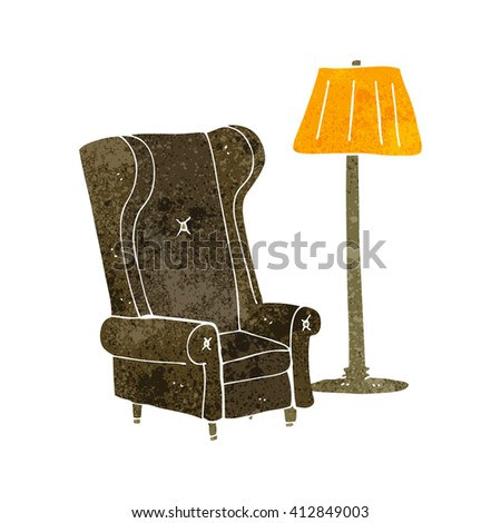 freehand drawn retro cartoon lamp and old chair - stock vector