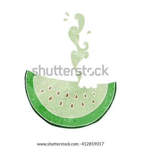 freehand drawn retro cartoon melon slice - stock vector