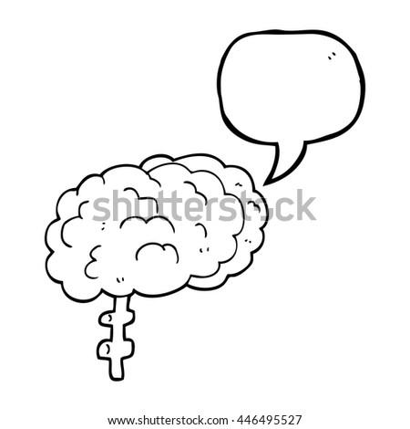 freehand drawn speech bubble cartoon brain - stock vector