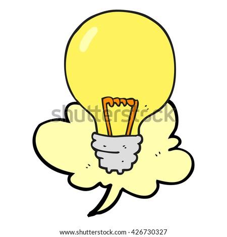 freehand drawn speech bubble cartoon light bulb - stock vector