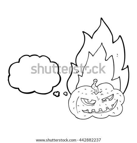 freehand drawn thought bubble cartoon flaming halloween pumpkin - stock vector