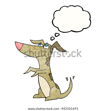 freehand drawn thought bubble textured cartoon dog - stock vector
