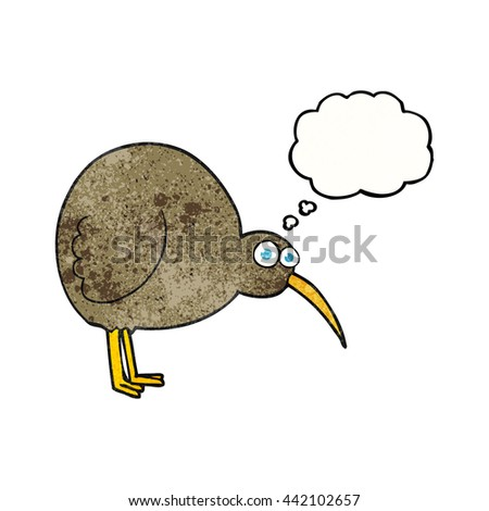freehand drawn thought bubble textured cartoon kiwi bird - stock vector