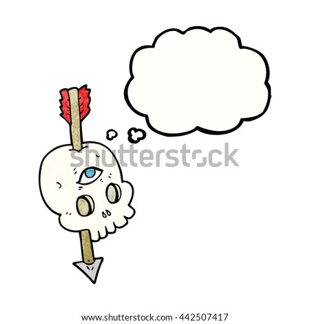freehand drawn thought bubble textured cartoon magic skull with arrow through brain - stock vector