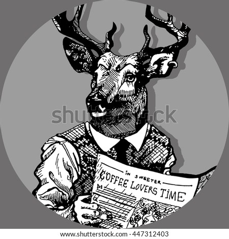 Freehand hand drawn ink hipster man with deer head and newspaper in hands. Deer man sit on toilet and read newspaper with coffee text. Stamp for man toilet door sign - stock vector