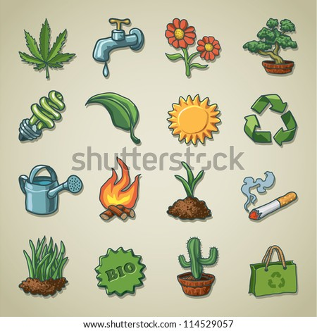 Freehand icons - Ecology - stock vector