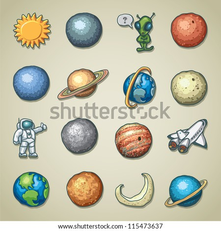 Freehand icons - Planetarium - stock vector