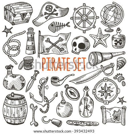 Freehand pirate set for your design. Hand drawn pirate elements made in vector. Map, flag, anchor, spyglass, lighthouse, roger, treasure, ahoy, bone, money, rum, bottle, palm, cannonball and other. - stock vector
