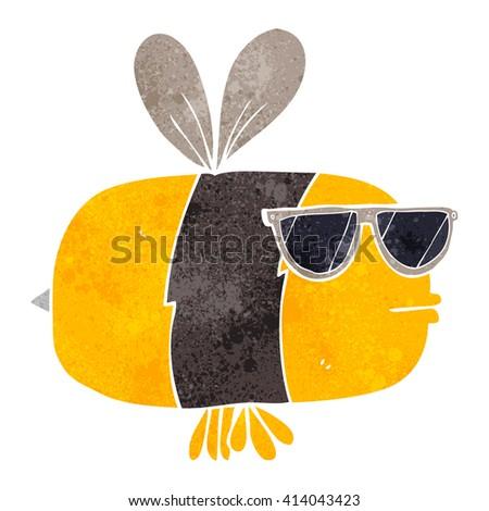 freehand retro cartoon bee wearing sunglasses - stock vector