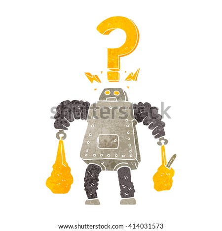 freehand retro cartoon confused robot carrying shopping - stock vector
