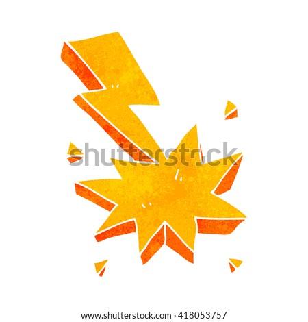 freehand retro cartoon lighting strike symbol - stock vector