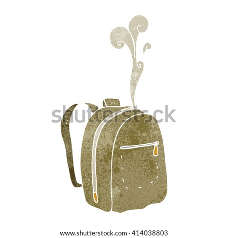 freehand retro cartoon rucksack - stock vector