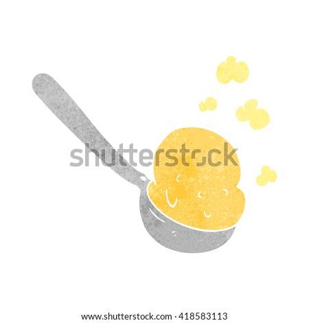 freehand retro cartoon scoop of ice cream - stock vector